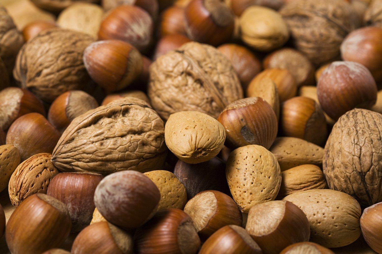 Las nueces y las avellanas son una fuente de Vitamnia E.