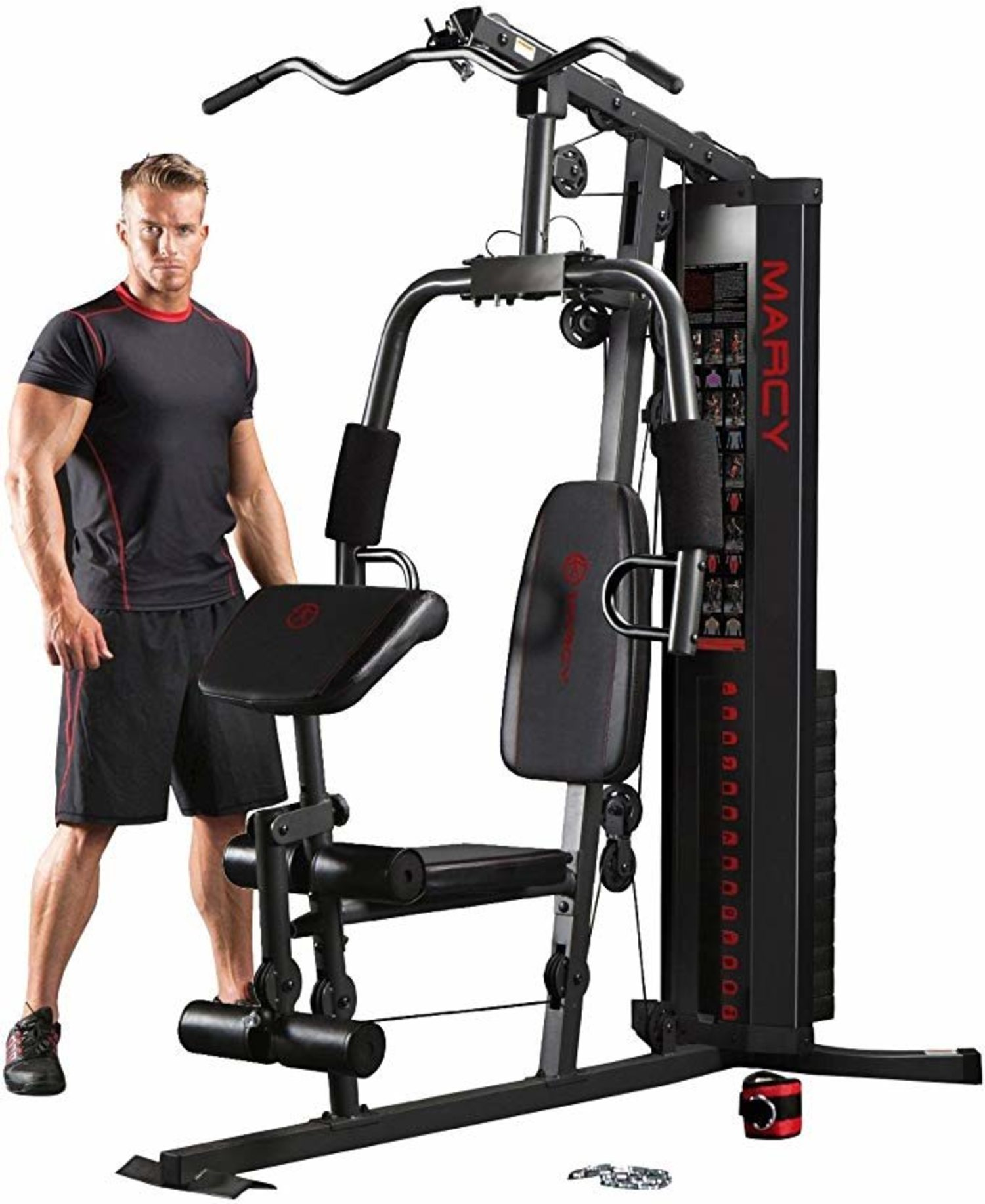 Máquina de musculación multigym Marcy, ideal para espacios reducidos.