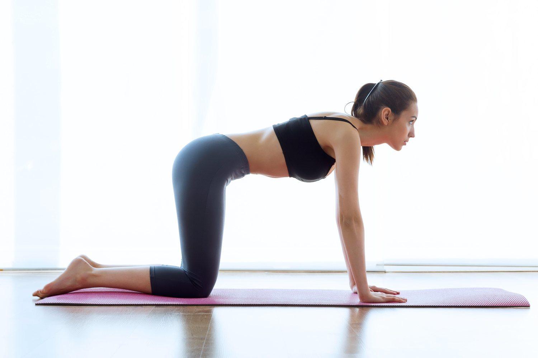 La postura en cuadripedia es una de las más comunes para practicar abdominales hipopresivos.