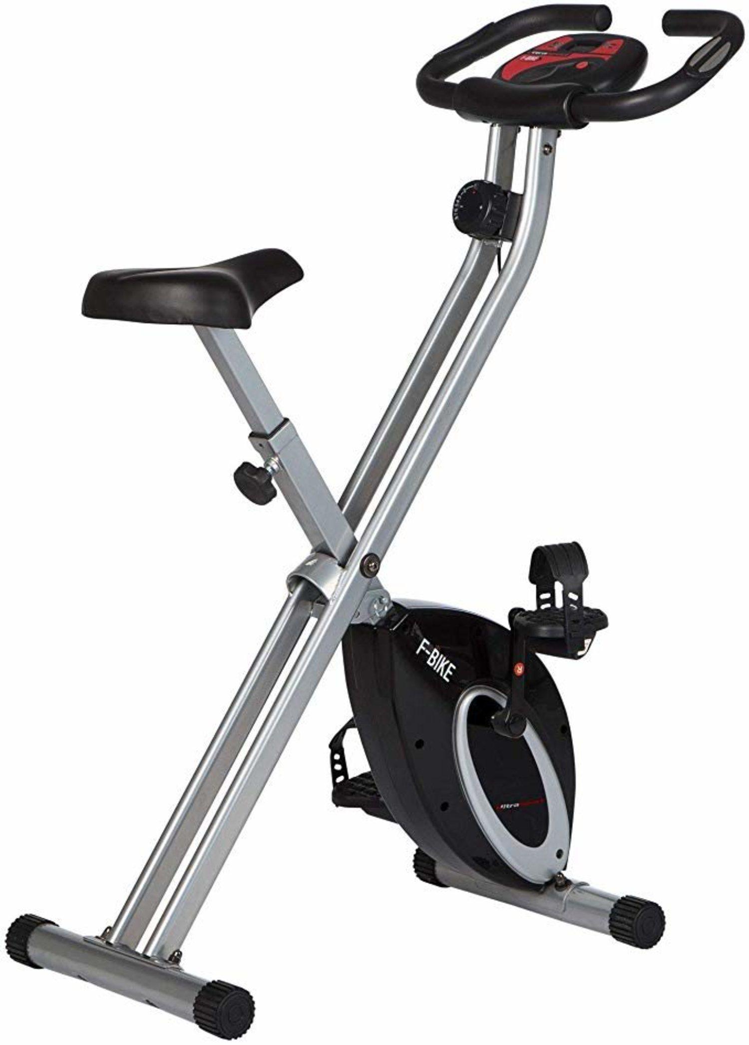 Bicicleta estática plegable Ultrasport para un ejercicio completo en casa sin ocupar mucho espacio.