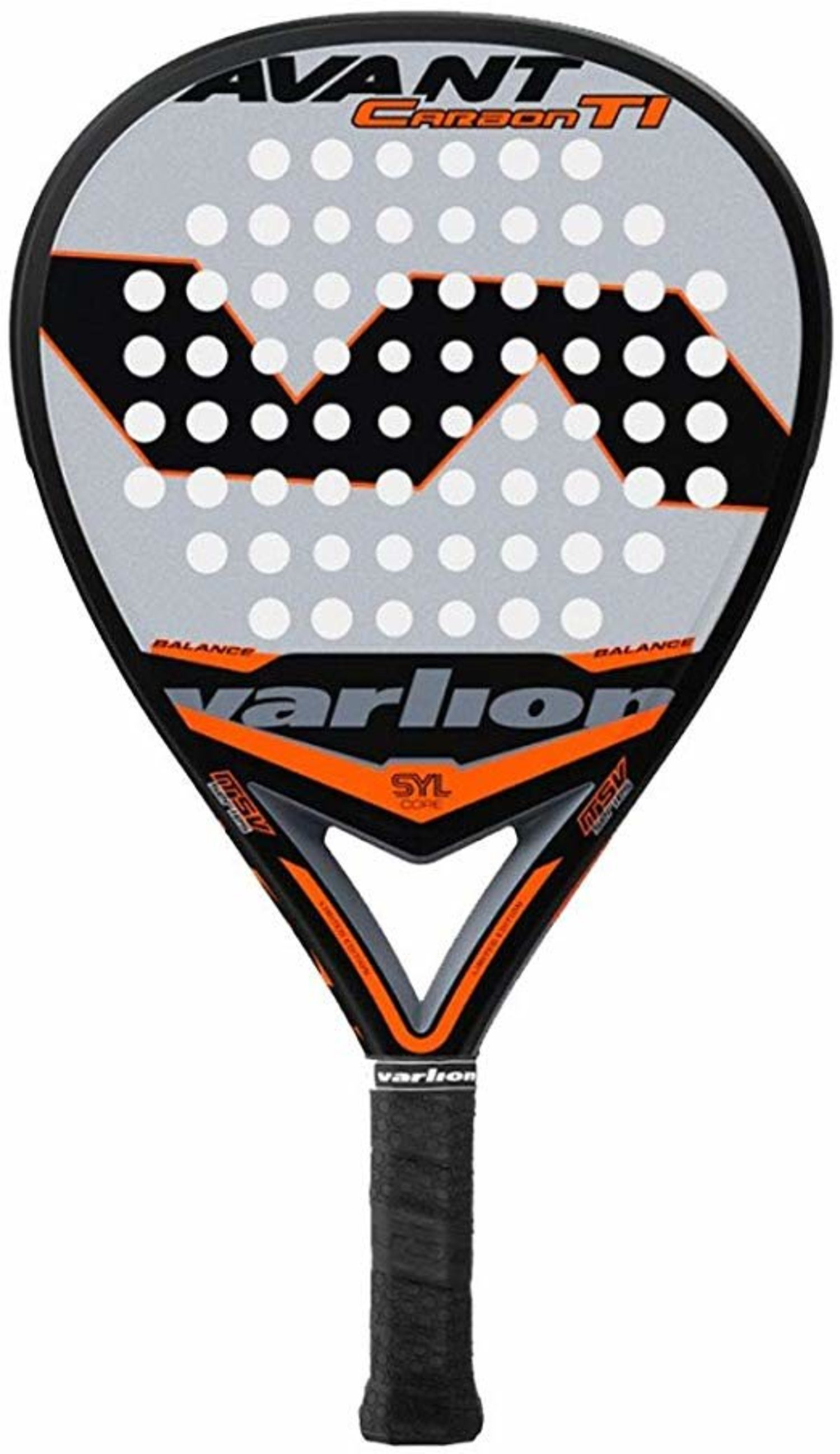 Para de pádel Varilion, fabricada con fibra de carbono y tecnología Syl Core para mejor manejo y resistencia.